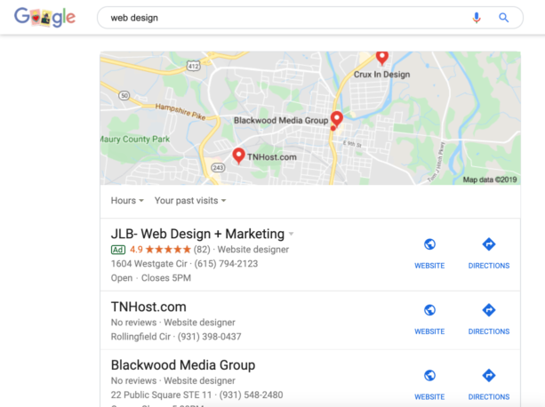 Google Search Results - Map Pack