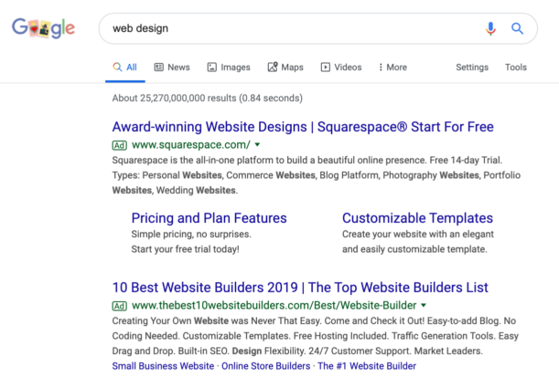 Google Search of Paid Ads