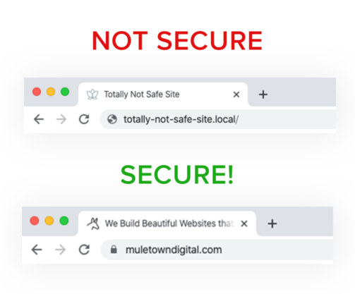 Not Secure and Secure Website Examples