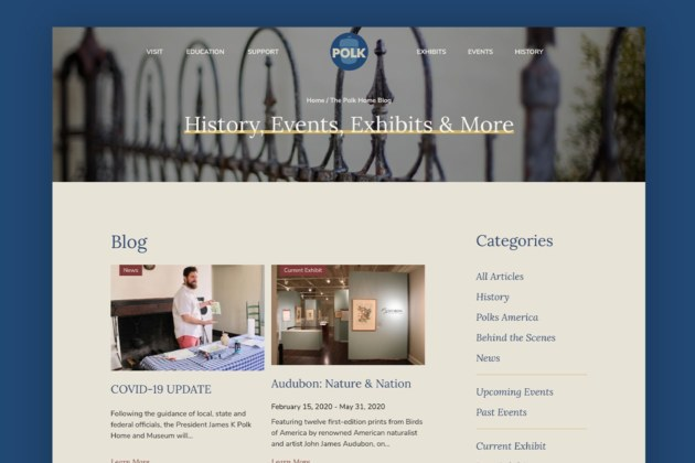 Website for Attraction James K Polk Museum - Exhibits Page