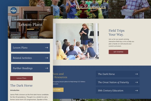Website for Attraction James K Polk Museum - Educators Page