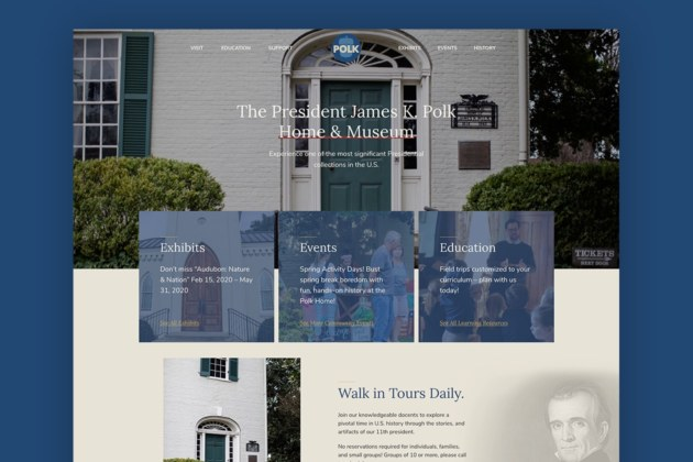 Website for Attraction James K Polk Museum - Home Page